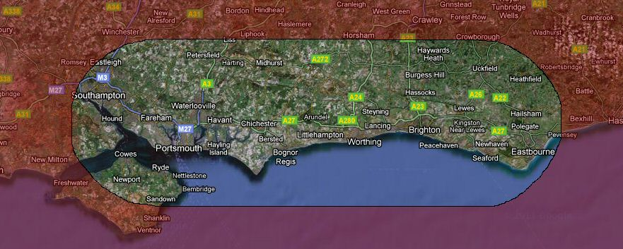 Map of South Downs Area Group coverage